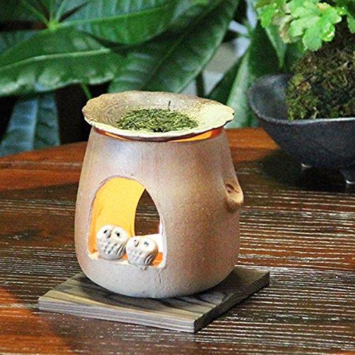 信楽焼 仲良しふくろう 茶香炉 陶器 焼き物 信楽焼き 陶器アロマ キャンドル 茶こうろ 香炉 ty-0009 B06WP6NJPL