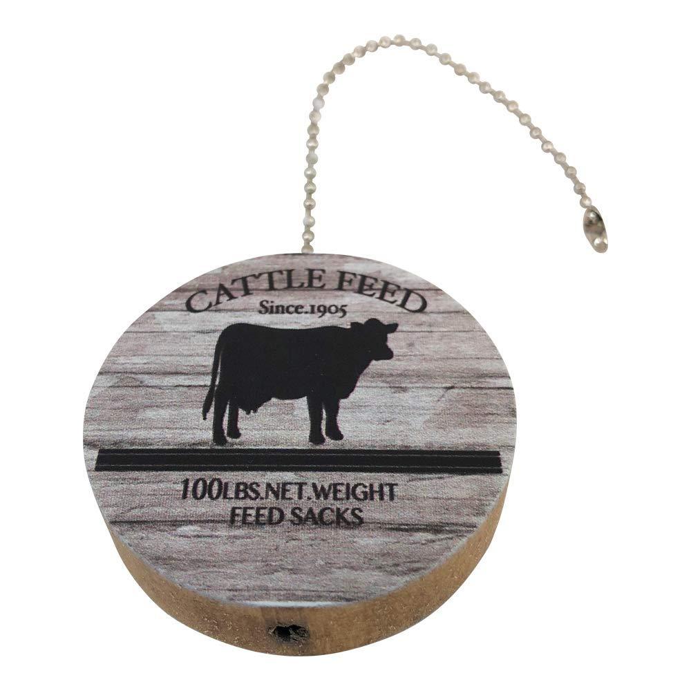 Cattle Feed Print Round Wood Fan//Light Pull
