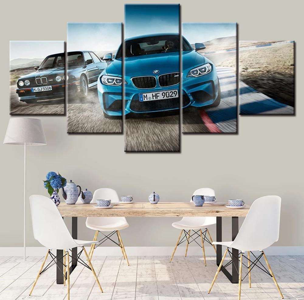 5 Panels Bmw M3 Blau Sportwagen Wandkunst Poster Leinwand Bilder HD-Drucke Gemälde Wohnkultur Schlafzimmer Wohnzimmer 150x80cm