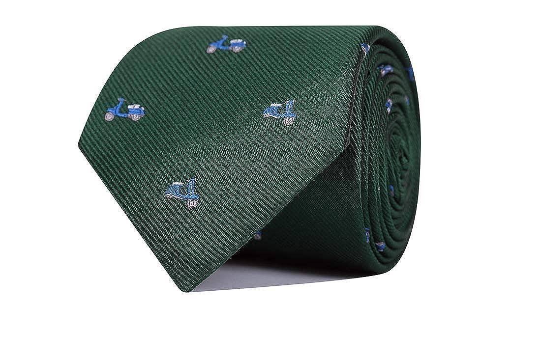 SoloGemelos Corbata De Seda Verde Con Vespas Hombres