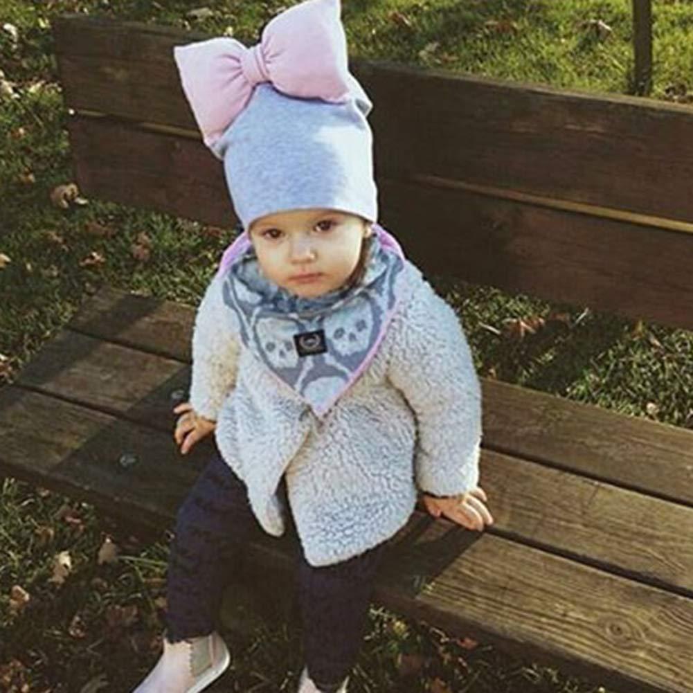 ink2055 Bowknot Decoration Infant Baby Kids Boy Girl Cap Warm Cotton Soft Beanie Hat