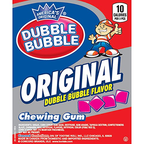 Dubble Bubble Original 1928 Flavor Pink Chewing Tab Gum - 9,900 ct. (25 Pounds)