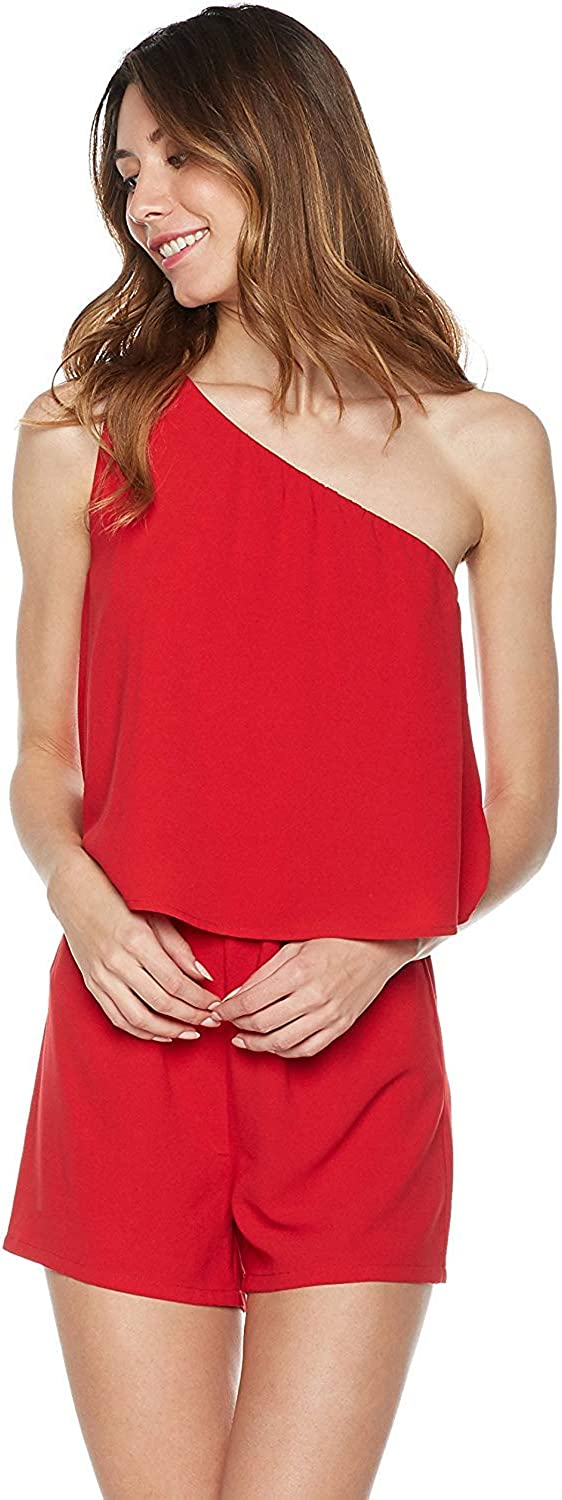 PLUMBERRY Women's One-Shoulder Romper Shorts with Pockects