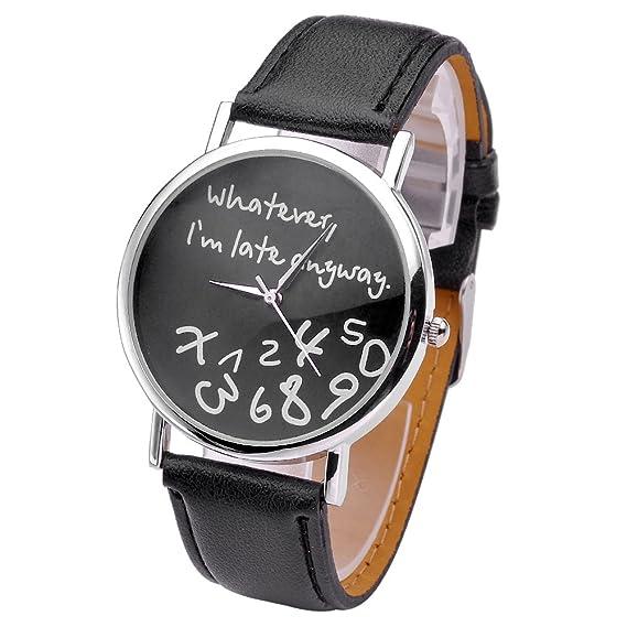 "Reloj de pulsera para mujer, estilo moderno, diseño con texto ""Whatever,"