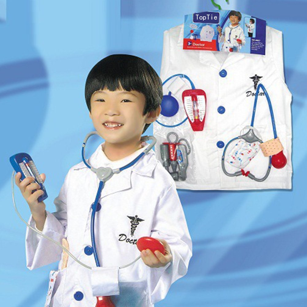 TOPTIE 4 Sets Kids' Role Play Costume Doctor Surgeon Police Officer Fire Chief White by TOPTIE (Image #2)