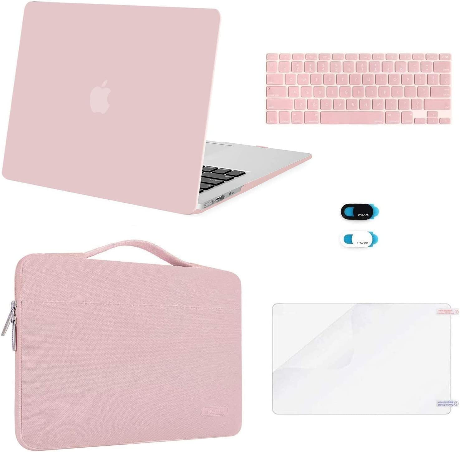 MOSISO Compatible with MacBook Air 13 inch Case (A1369 A1466, Older Version 2010-2017 Release), Plastic Hard Shell Case & Sleeve Bag & Keyboard Cover & Webcam Cover & Screen Protector, Rose Quartz