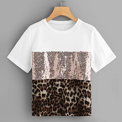 655130743d3ae1 Amazon.com: Women Sequin Short Sleeve T-Shirt, Leopard Printed Crew Neck  Patchwork Tops Causal Tees Blouse (White, M): Kitchen & Dining