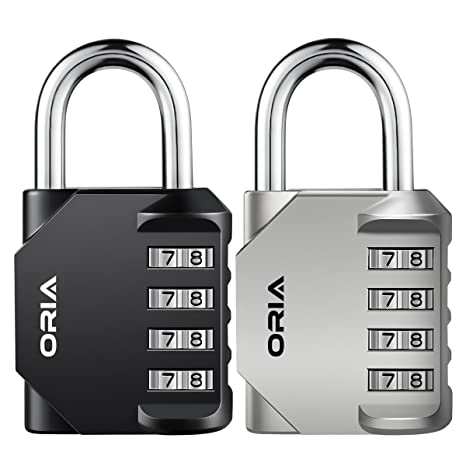 【Nueva Versión】Oria 2 Pcs Cerradura de Combinación, Candado de Seguridad con Combinaciones