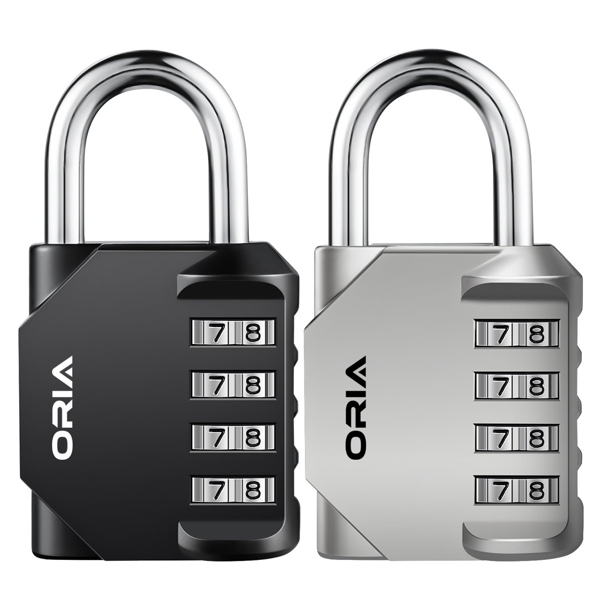 ORIA 4 Digit Combination Lock, 2 Pack Padlock for School, Employee, Gym & Sports Locker, Case, Toolbox, Fence, Hasp Cabinet & Storage - Metal & Plated Steel