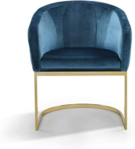Iconic Home Siena Accent Club Chair Shell Design Velvet Upholstered Half-Moon Gold Plated Solid Metal U-Shaped Base Modern Contemporary Teal