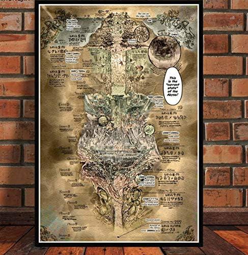 YTYTOO Poster Wanddeko Bild,Made In Abyss Map Filmplakate Und Drucke Leinwand Wandkunst Bild F/ür Wohnzimmer Vintage Leinwand Malerei 50X70Cm,Premium Poster