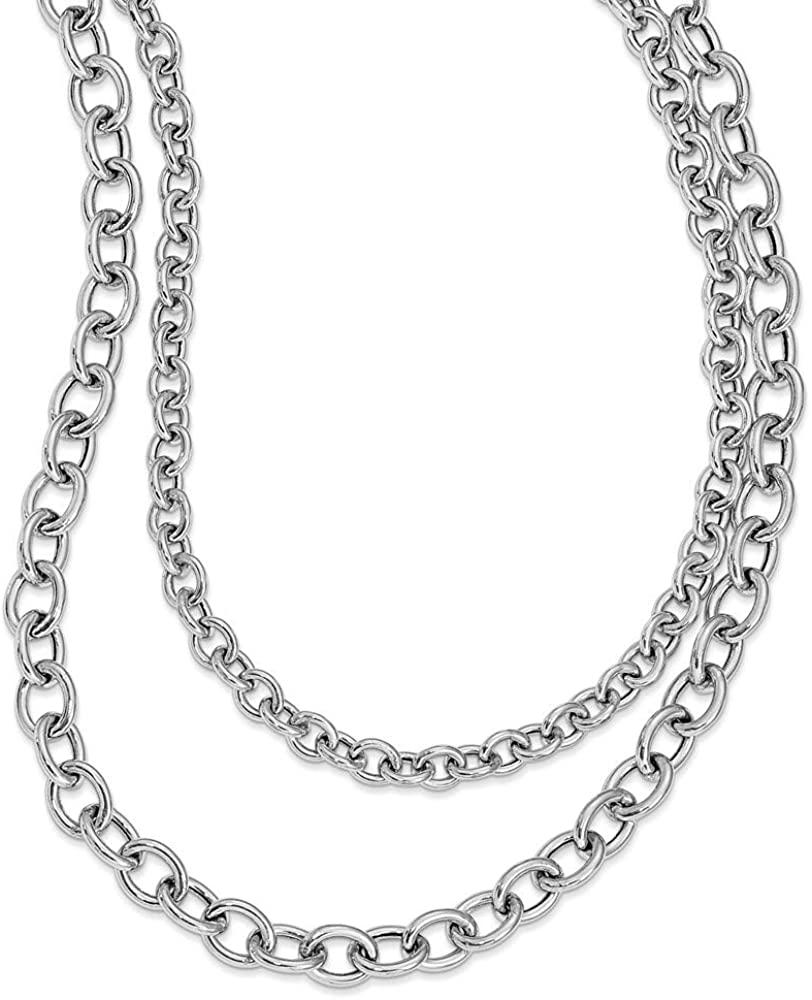 Leslies Sterling Silver Rhod-plat Polished Layered w//1.5 in ext Necklace; 21 inch
