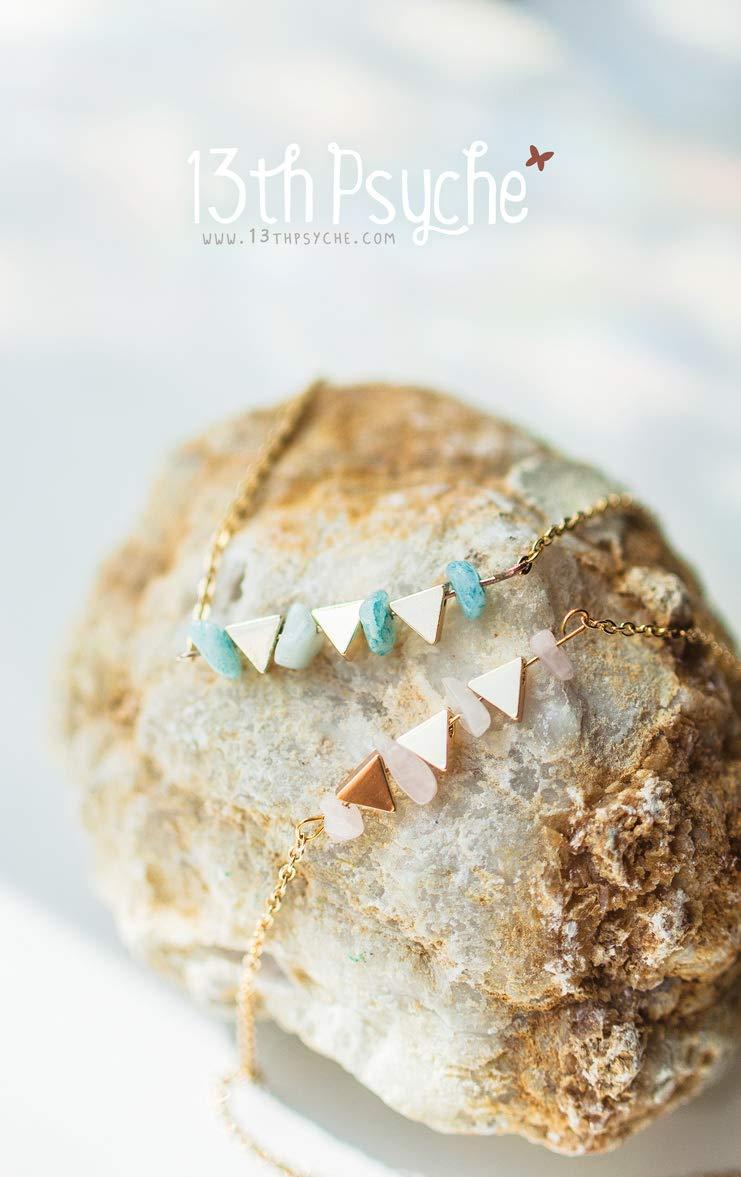 Gargantilla de amazonita, collar de cuarzo rosa, collar de gargantilla de piedras, collar de piedras preciosas, collar de triángulo dorado, collar combinado, piedra natural