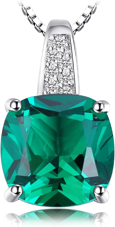 JewelryPalace Colgante Solitario Cojín Corte Nano rusa esmeralda imitada Rubí Creado Elegante Collar Plata de ley 925 cadena de caja 45cm