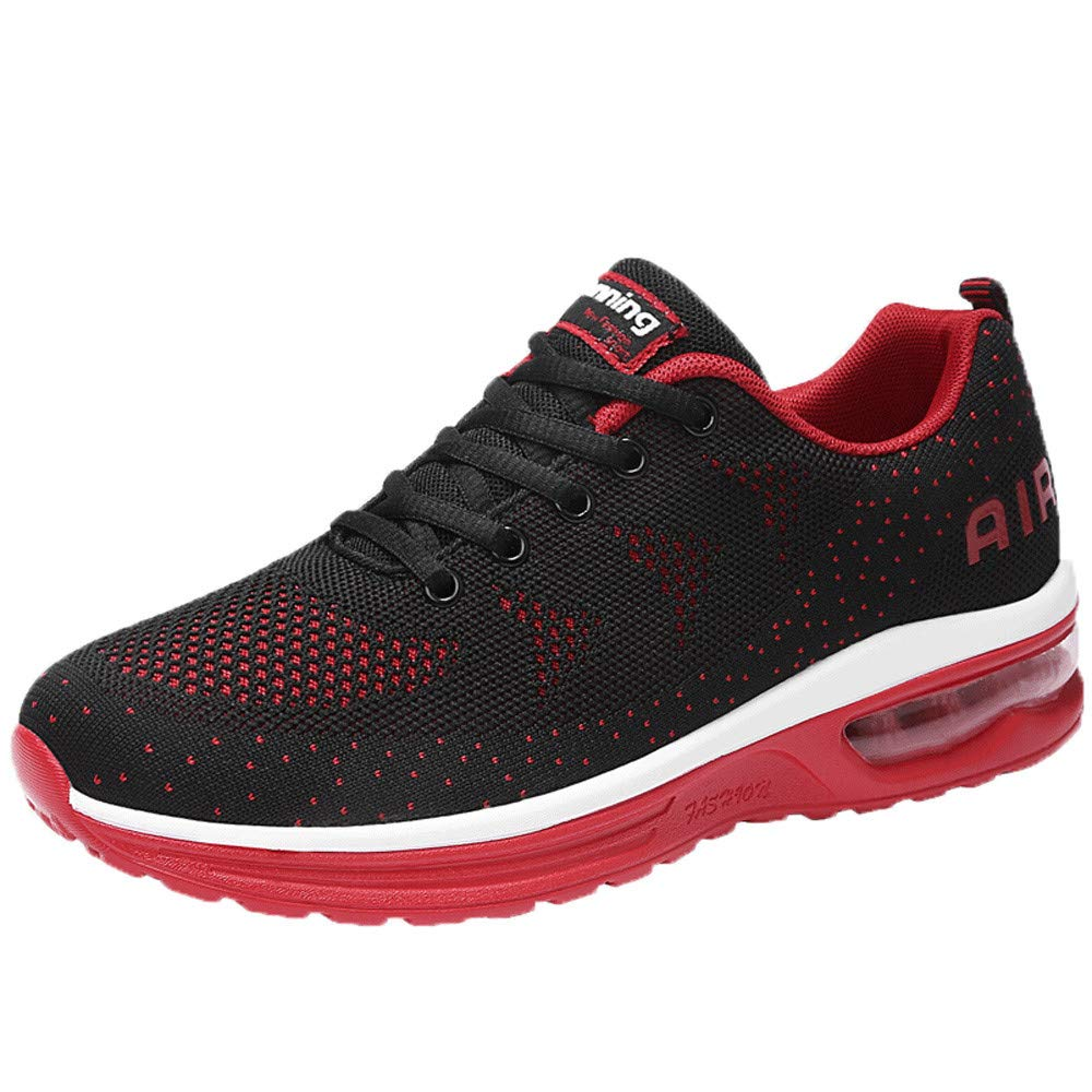 Men's Running Shoes Sportswear Elastic Fitness Athletic Classic Sneakers Refined Breathable Fitness Jogging Shoes (39, Red)
