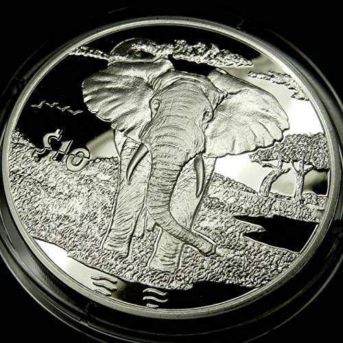 (ELEPHANT Sterling Silver Proof Coin in Box with Certificate of Authenticity - 2007 Sierra Leone $10 Dollars - African Animals Series)