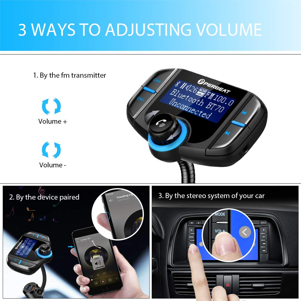 【Upgraded Version】 Perbeat Bluetooth FM Transmitter for Car Wireless Aux  Adaptor Receiver Hands Free 2 4A Fast Charger with 1 7Inch Larger Display,