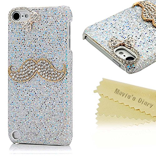 iPod Case, Touch 5 Case – Mavis's Diary 3D Handmade Luxury Fashion Shiny Bling Crystal Lovely Mustache Rhinestone Diamond Hard Cover Silvery Case for …
