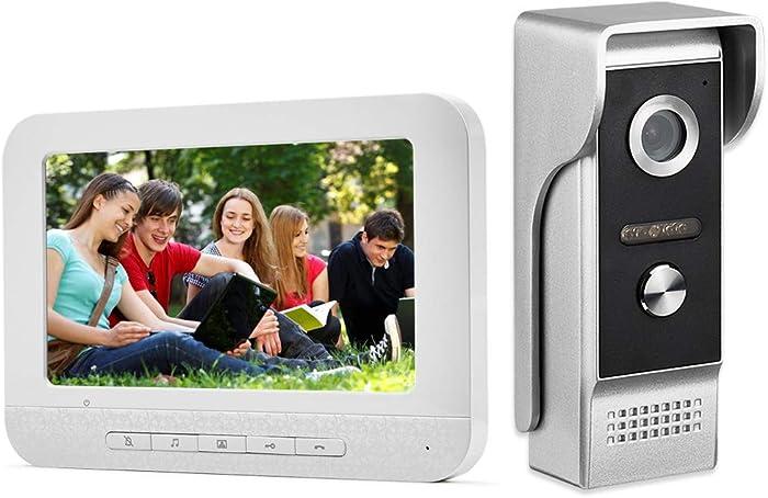 AMOCAM Video Intercom System,7 Inches Monitor Wired Video Door Phone Doorbell Kits, IR Night Vision Camera Door Intercom, Support Unlock, Monitoring, Dual-Way Intercom for Home Video Surveillance