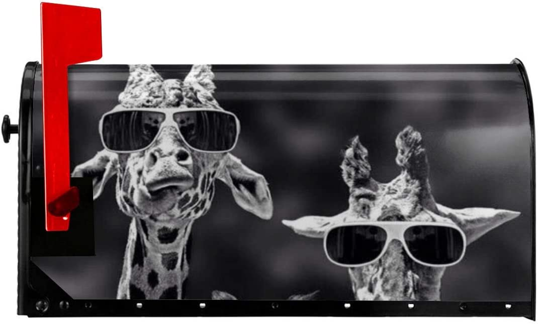 YangPa Black&White Sunglass Giraffes Family Summer Magnetic Mailbox Cover Garden Patio Home Decoration for Exterior One Size 21x18 Inch