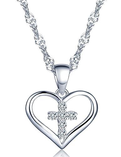 Silber//Rosegold Unendlich U Klassisch Kreuz Herz Damen Halskette 925 Sterling Silber Zirkonia Anh/änger Kette mit Anh/änger