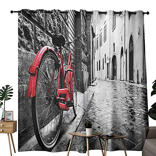 Bicycle Decor Wedding Party Home Window Decoration Classic Bike on Cobblestone Street in Italian Town Leisure Charm Artistic Photo Noise Reduction soundproof Curtain W72 xL72 Red Black and White ()