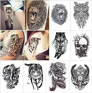 bf5561d39 COKOHAPPY 8 Sheets Large Temporary Tattoo Half Arm Extra Sleeve Elephant,  Dead Skull, Lion