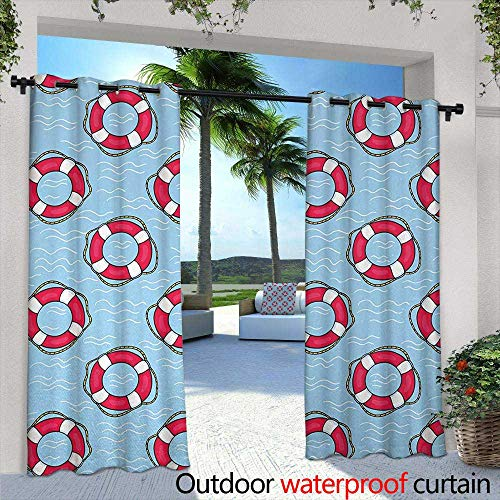 - Tim1Beve Indoor/Outdoor Curtains Buoy Pattern with Lifebuoys Floating in Ocean Swimming Urgency SOS Protection for Porch&Beach&Patio 108