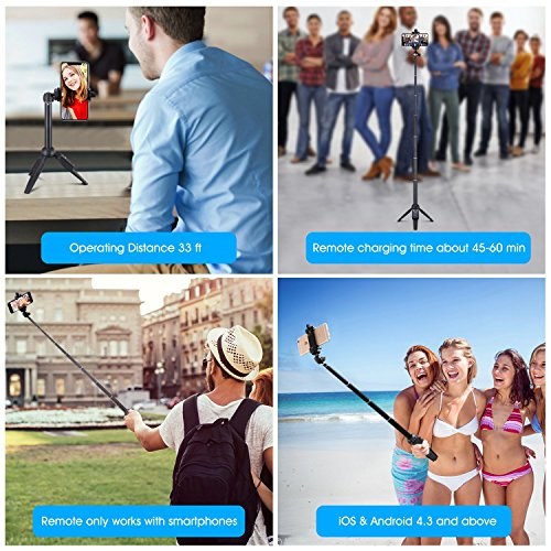 Apsung Selfie Stick Tripod, 40-Inch Extendable iPhone Tripod with Wireless Remote, Portable Selfie Stick for iPhone X/iPhone 8/8 Plus/iPhone 7/7 Plus/Android/Gopro/Digital camera,Gopro Adapter Include by Apsung (Image #4)