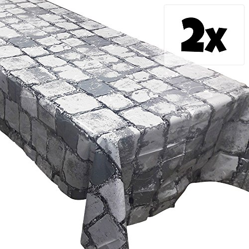 Cobblestone Tablecovers (2), Medieval Party Supplies, Knight Themed Events, Pixel Parties, Castle Table (Dragon Decorations)