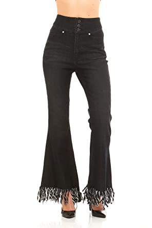 Red Jeans Women's High Waist Frayed Bell Bottom Black Denim Jeans ...