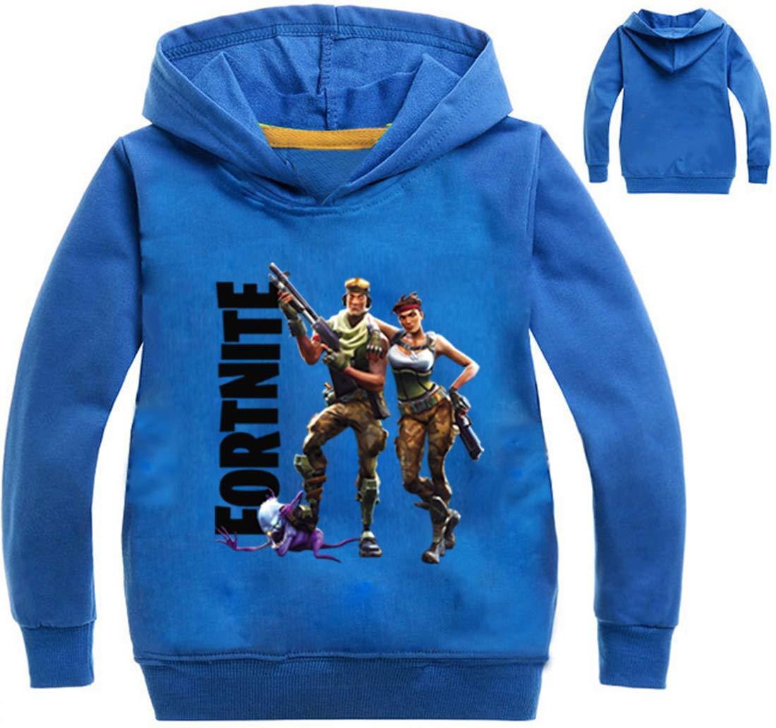 Imilan Unisex Kid's Hoodies with Fortnite Printed Hooded Sweater Long Sleeves ST061