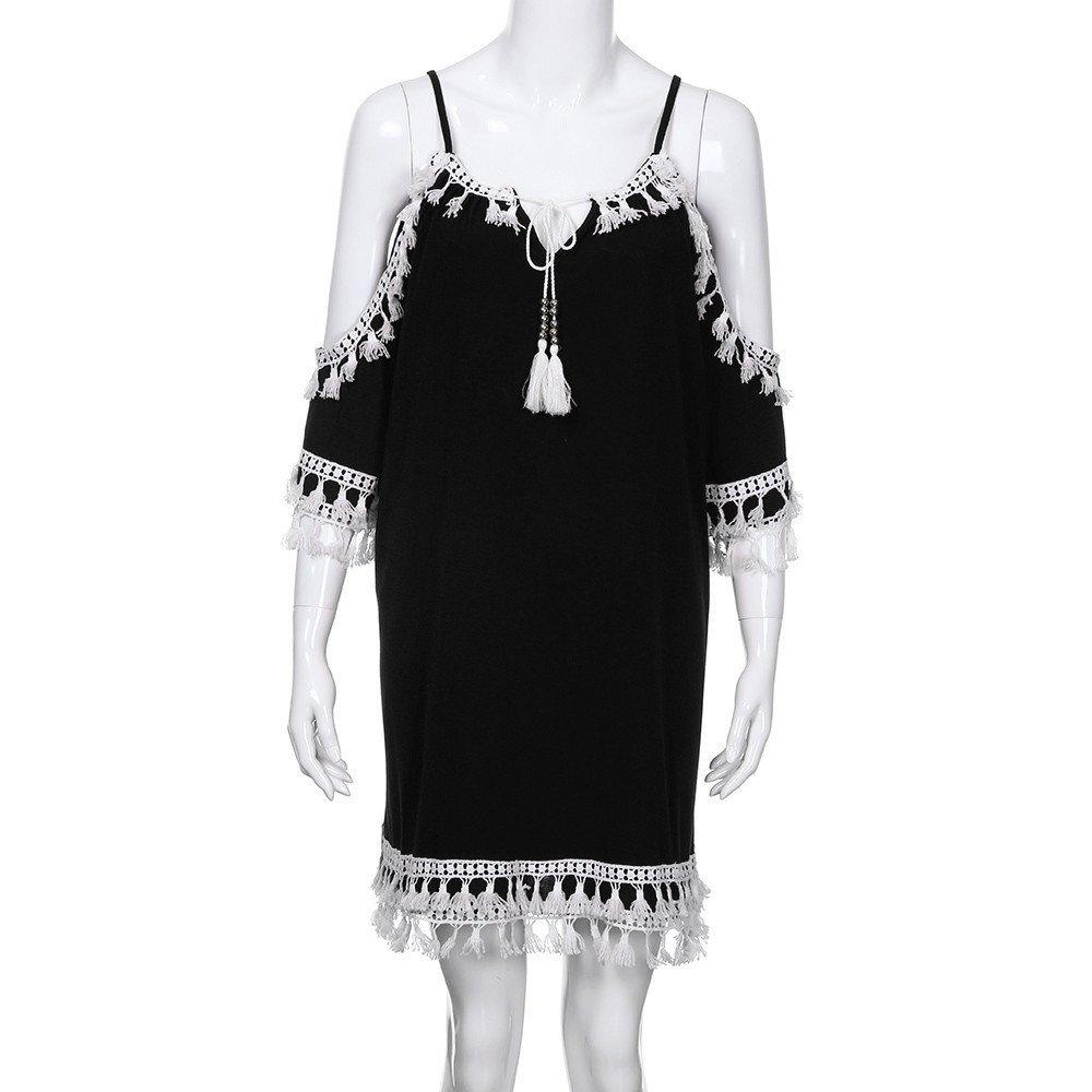 Modaworld Vestidos De Fiesta Mujer Vestido de Fiesta Corto de c/óctel de Borla Mujer Vestidos de Playa Verano Se/ñoras Ni/ña Chicas Bikini Cover up Camisolas Pareos