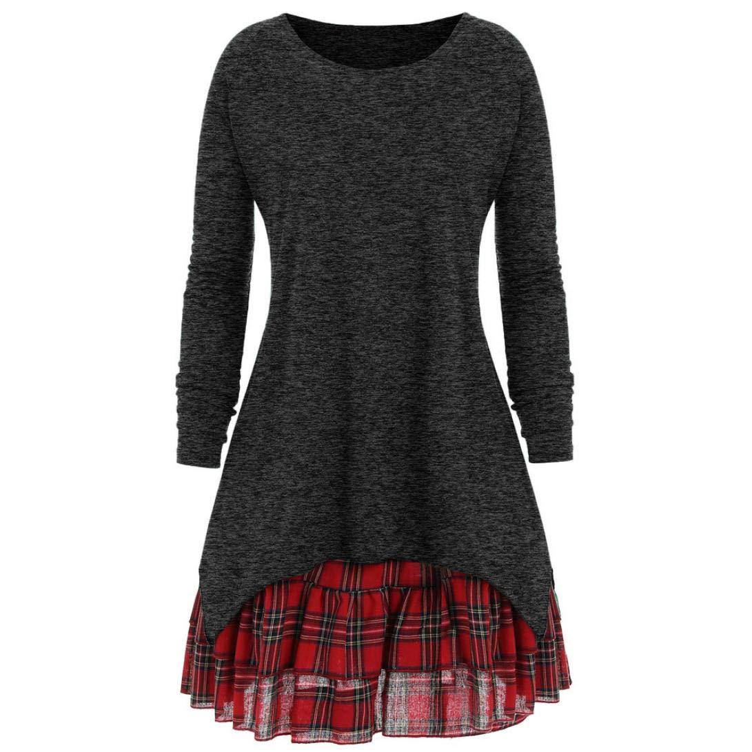 Hemlock Women Plus Size Sweater Coats Pullovers Tops Two Piece Long Plaid Autumn Dress Blouse Sweatshirt
