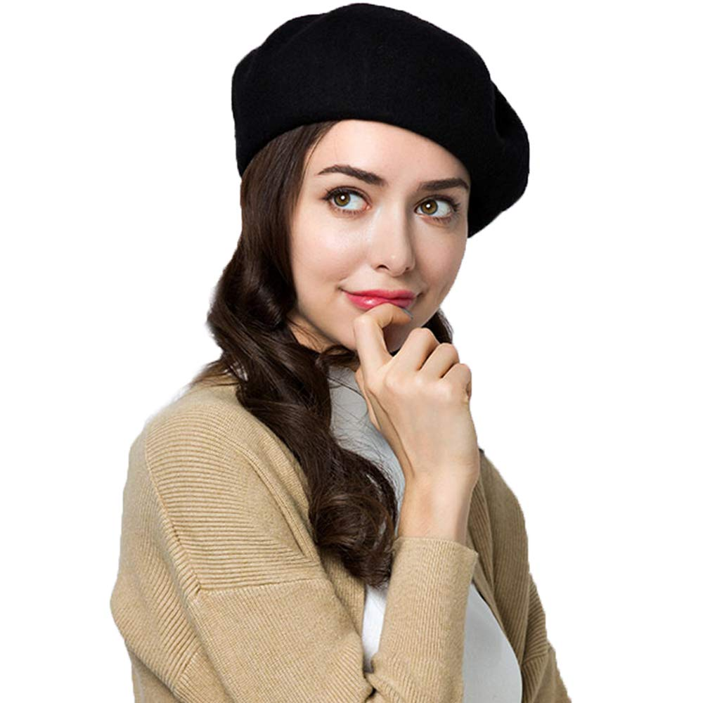 Exlura 95% Wool Beret Artist Hat French Hat Casual Solid Color Spring Winter Hat for Women Black