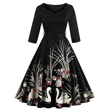 5fa73afd646 Rosegal Women s 50s Vintage Floral V-Neck Swan Midi Dress 3 4 Sleeve ...