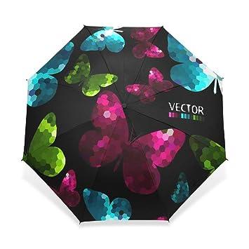 Enne mariposa paraguas lluvia resistente al viento paraguas de viaje plegable compacto protección UV