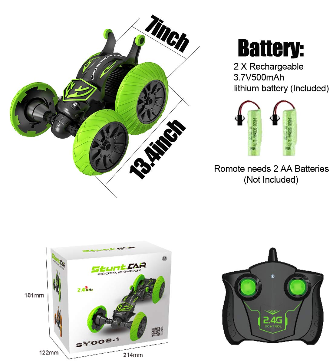 POWERbeast RC Cars Stunt Car Toys for Kids 2.4Ghz 4WD Remote Control Car Double Sided Rotating Vehicles 360° Flips and Spin, Kids Toy Cars for Boys & Girls Birthday