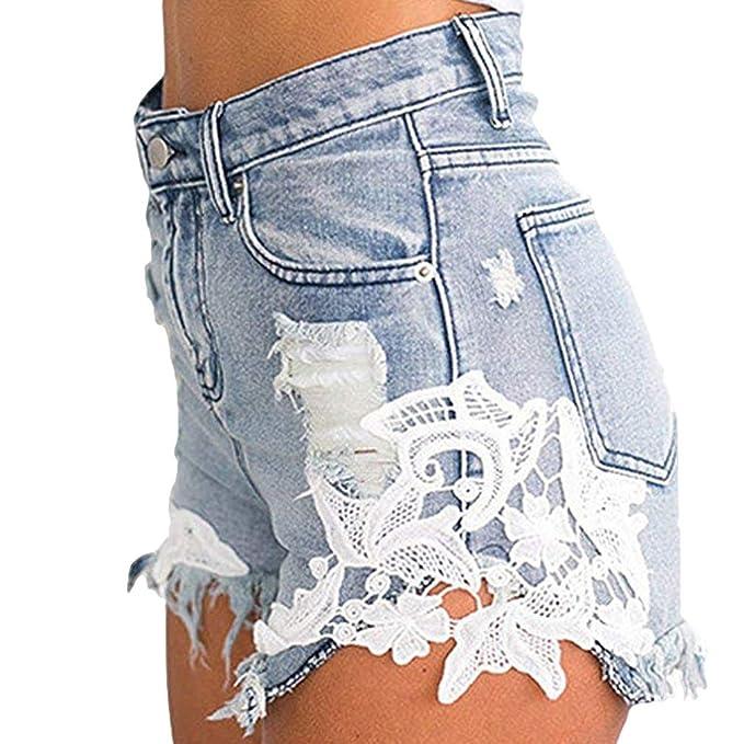 Mxssi Mujeres Pantalones Cortos de Mezclilla de Las Mujeres ...