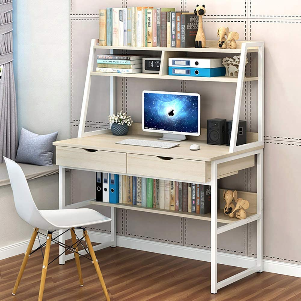 Modern Computer Desk with Hutch and 2 Drawers,Sturdy Office Desk Pc Laptop Desk Notebook Study Writing Table for Home Office Workstation