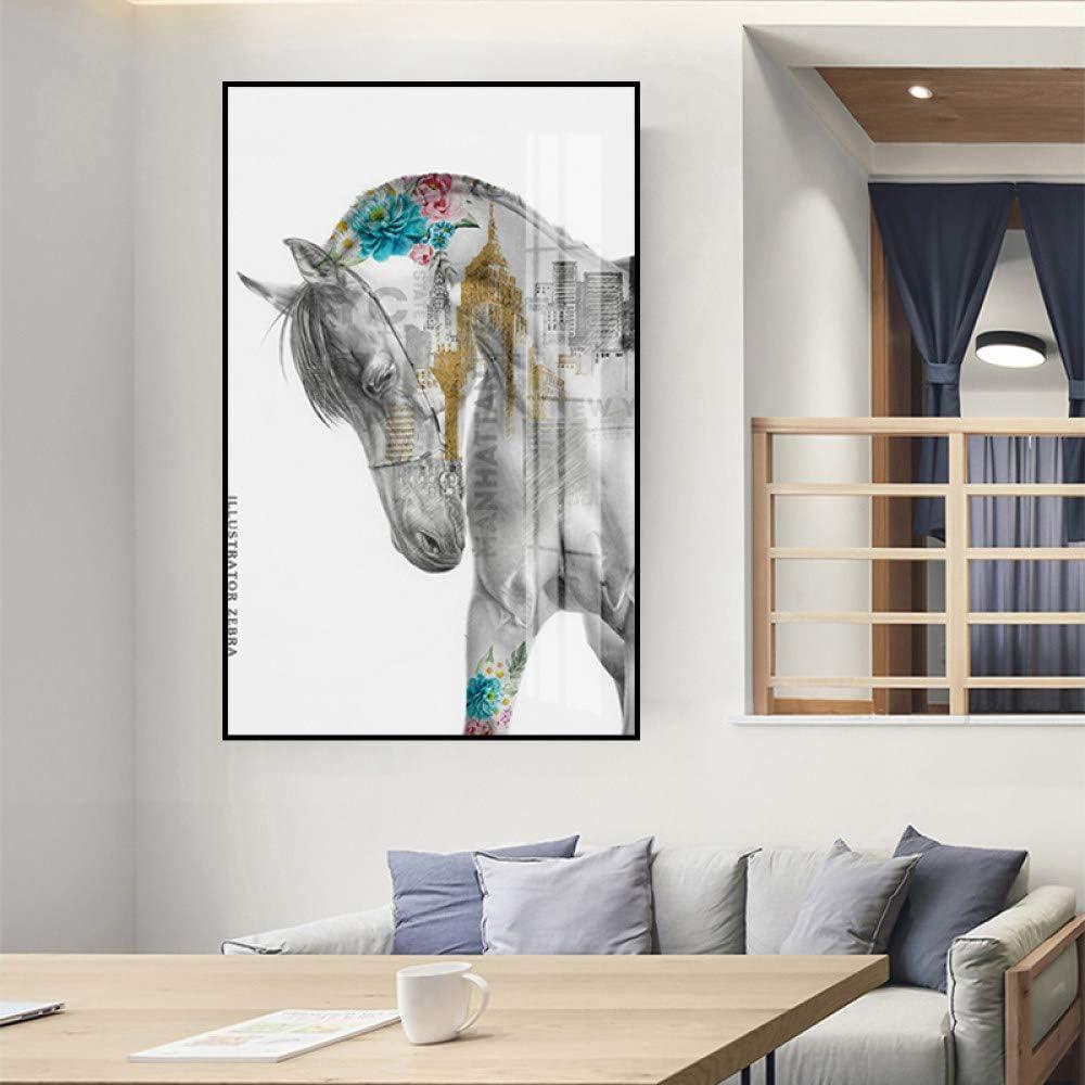 Cuadro En Lienzo Animal Caballo Abstracto,Fotografías En Blanco Y Negro De Impresión Sobre Lienzo Tamaño Grande Animales Coloridos Carteles De Pared De Arte Óleo Para Sala De Estar Moderna Decorac