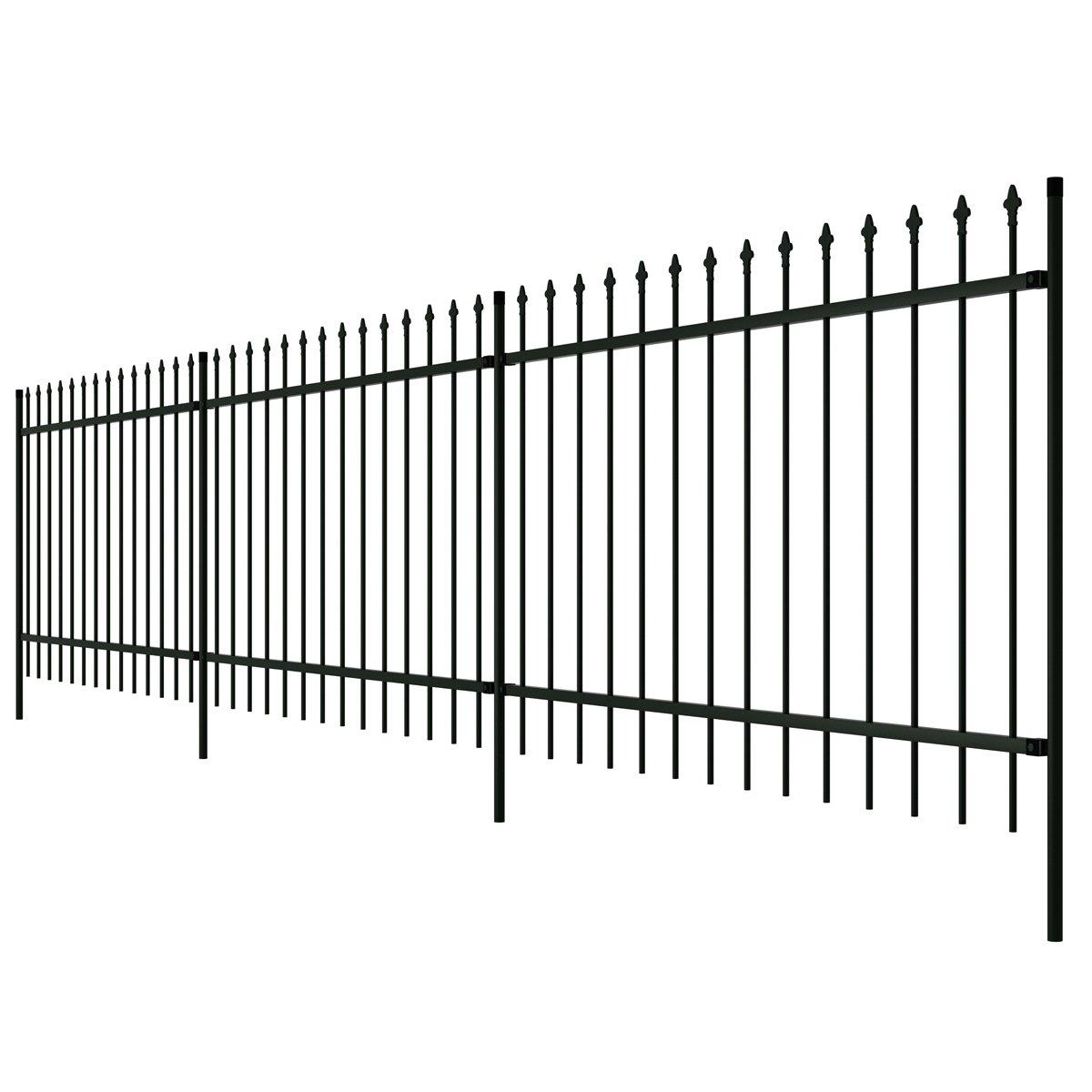 vidaXL Dekorativer Gartenzaun Zaun Stahl schwarz gespitzt 100 cm