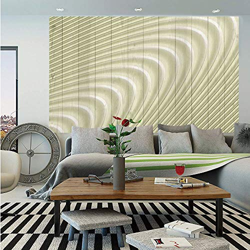 SoSung Modern Decor Removable Wall Mural,Futuristic Wavy Spherical Disc Band Lines Expanding Drop Like Minimalist Print,Self-Adhesive Large Wallpaper for Home Decor 66x96 inches,Eggshell