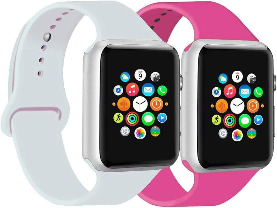 CoJerk Compatible for Apple Watch Band 38mm 40mm 42mm 44mm,Replacement Band for iWatch Series 5/4/3/2/1 (Barbie Pink+White, 38mm/40mm-ml)