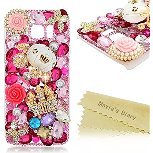 Galaxy S7 Edge Case - Mavis's Diary Luxury 3D Handmade Bling Crystal Golden Castle Cute Pumpkin Car with Shiny Sales