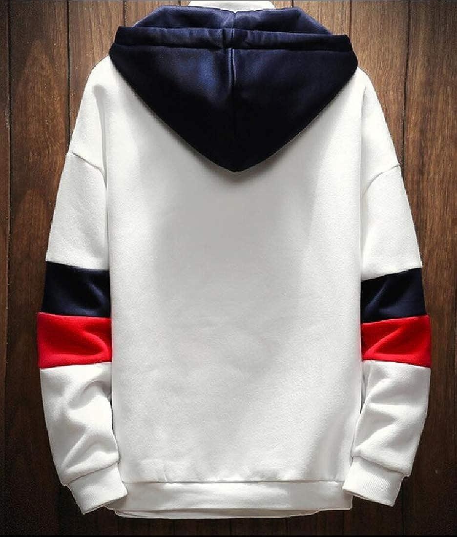 WSPLYSPJY Mens Hoodies Tops Casual Sweatshirts Color Block Outwear