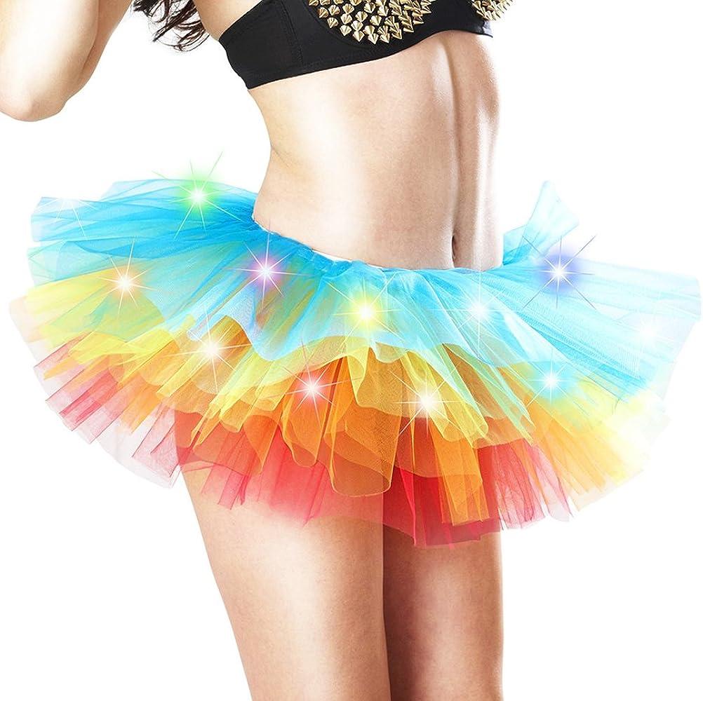 Faldas Mujer Corto Elegante LED Niñas Ropa Party Minifalda Tutu ...