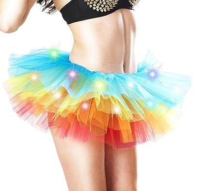 HaiDean Faldas Mujer Corto Elegante LED Multicolor Modernas Casual ...