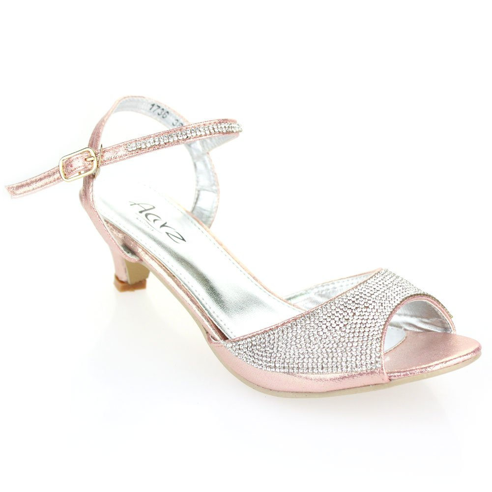 72a16220d2e Aarz Women Ladies Evening Party Wedding Low Kitten Heel Peep Toe Diamante  Sandal Shoes Size ( Gold,Silver,Champagne,Black,Pink )