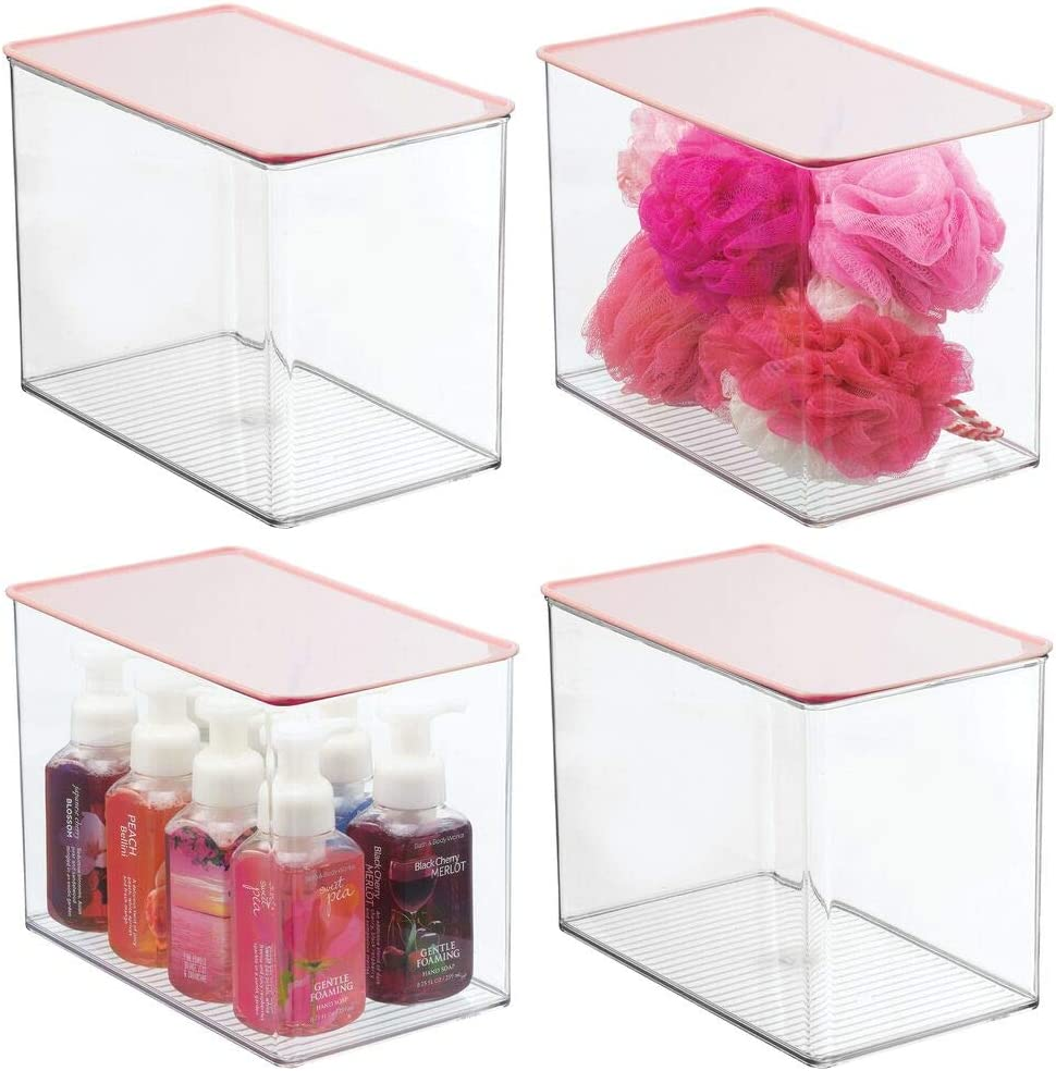 mDesign Tall Plastic Stackable Storage Container Bin Box, Hinged Lid - Bathroom Cabinet Organizer for Toiletries, Makeup, First Aid, Hair Accessories, Soap, Loofahs, Bath Salts, 4 Pack - Clear/Pink